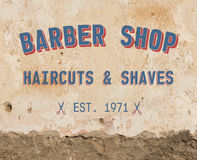 Barber sign on wall. Barber sign on grunge wall Stock Image