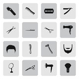 Barber 16 simple icons set. Barber and scissors 16 simple icons set on background Royalty Free Illustration