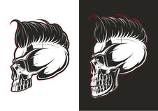 Barber skull profile. Profile barber skull on white and black backgrounds royalty free illustration