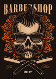 Barber skull with roses. Barber Shop illustration, Skull with roses and straight razors. Hipster skull with hair and mustache royalty free illustration