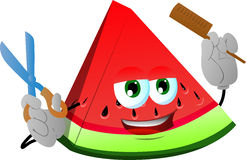 Barber slice of watermelon holding a comb and a scissor Stock Photos