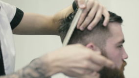 Barber spinning scissors on the finger stock video