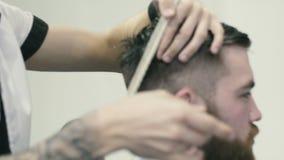 Barber spinning scissors on the finger stock video