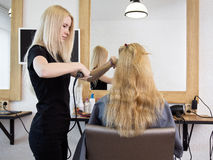 Barber Straightening Client S Hair Stock Photo