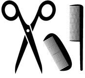Barber tools icon with scissors and comb Stock Photo