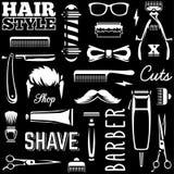 Barber Tools Seamless Texture Vector Illustration Stock