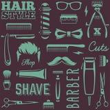 Barber Tools Seamless Texture Vector Royalty-vrije Stock Afbeelding