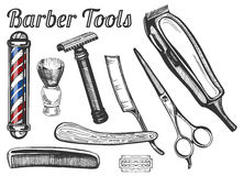 Barber tools set. Vector illustration of vintage barber tools: classic barbers pole, shaving brush, safe and straight razors, hairdressing scissors, hair brush royalty free illustration