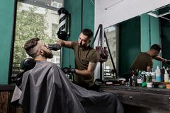 Barber trims with scissors beard of brutal young man sits in the chair in front of the mirror at a barbershop royalty free stock image