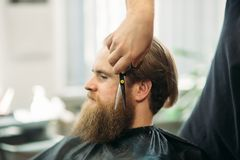 Barber using scissors and comb in barbershop royalty free stock photos