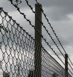 Barber wire fence. Barbed wire fence perspective useful as jail or lack of freedom concept Stock Images
