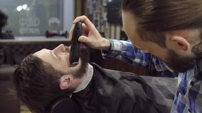 Barber woman trimming beard of client with clipper at barbershop stock video