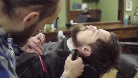 Barber woman trimming beard of client with clipper at barbershop. 4K stock video footage