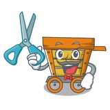 Barber wooden trolley character cartoon. Vector illustration stock illustration