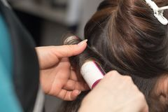 Barber work in a beauty salon Royalty Free Stock Photos