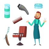 Barber at work and different illustrations of barbershop tools. Vector collection in cartoon style Royalty Free Stock Photos