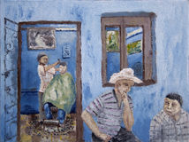 Barber at work. Illustration in oil paints of barber cutting hair in a saloon with blue walls and showing two other customers waiting Stock Image