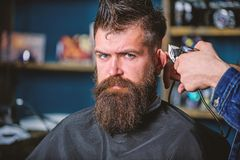 Barber works with hair clipper. Barbershop concept. Hands of barber with clipper, close up. Hipster bearded client on. Strict face getting hairstyle. Man with stock photo