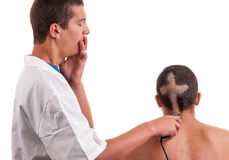 Barber worried that he by mistake wrong cut hair Stock Photography