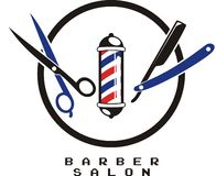 Barberarelogodesign stock illustrationer