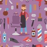 Barberaren för skönhet för hjälpmedel för salongen för frisyr för danande för teckenet för vektorn för mannen för hipsteren för f stock illustrationer