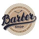 Barberaren shoppar den retro tappningetiketten, emblemet, emblemet eller logo Royaltyfri Fotografi