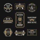 Barberaren shoppar den tappning isolerade etikettuppsättningen Royaltyfria Bilder
