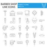 Barberaren shoppar den tunna linjen symbolsuppsättningen, frisyrsymboler samlingen, vektor skissar, logoillustrationer, tecken fö stock illustrationer