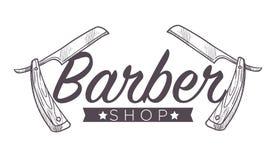 Barberaren shoppar etiketten, isolerad monokrom skissar översiktsservice för manvektor royaltyfri illustrationer