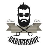 Barberaren shoppar för etikettemblemet för tappning det klassiska emblemet För gentlemanlogo för Hipster antik illustration för v stock illustrationer