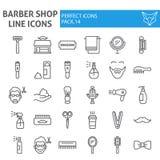 Barberaren shoppar linjen symbolsuppsättningen, frisyrsymboler samlingen, vektor skissar, logoillustrationer, håromsorg underteck royaltyfri illustrationer