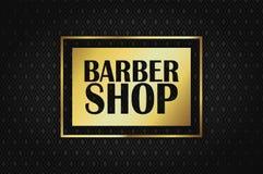 Barberaren shoppar p? en guld- rektangel p? en rik svart bakgrund royaltyfria bilder
