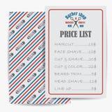 Barberaren shoppar pris eller broschyrlistan med priser på frisyrerna och frisyrerna Royaltyfri Fotografi
