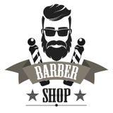 Barberaren shoppar retro etikettlogo, tappningemblemet eller emblemet isolerade vektorillustrationen royaltyfri illustrationer