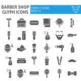 Barberaren shoppar skårasymbolsuppsättningen, frisyrsymboler samlingen, vektor skissar, logoillustrationer, heltäckande för tecke stock illustrationer
