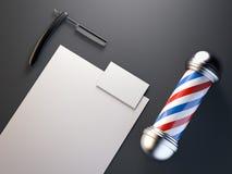 Barberaren shoppar upp falskt med polen framförande 3d vektor illustrationer