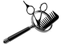 Barberaresax med comberen med förstoringsglaset stock illustrationer