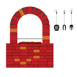 Barbercue with red brick vector. Barbercue with red brick art vector illustration Stock Photo
