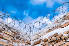 Barbered wire on boundary Royalty Free Stock Images