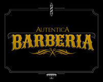 Barberia Autentica, Authentic Barbershop spanish text Royalty Free Stock Photography