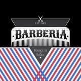 Barberia, testo spagnolo del parrucchiere, progettazione dell'emblema di vettore con il pettine dei capelli royalty illustrazione gratis