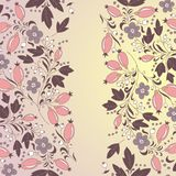 Barberry border, hand-drawn berry pattern. Stock Photo