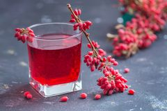Barberry and barberry juice stock photo