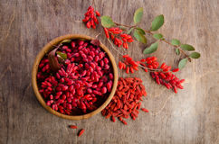 Barberry with leaves and dry goji berries Royalty Free Stock Photo