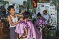 Barbers in Burma Stock Photo
