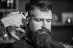 Barbers hand with hair clipper trimming. Stylish haircut concept. Hands of barber with clipper close up. Hipster bearded. Client on strict face getting stock images
