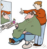 Barbers. Man worried about haircut at barbershop Stock Images