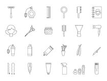 Barbershop black icons set. Set of 24 Barbershop black icons Royalty Free Stock Image