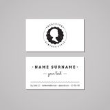Barbershop business card design concept. Barbershop logo-badge with african american woman profile. Vintage and hipster style Royalty Free Stock Photos