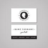 Barbershop business card design concept. Barbershop logo-badge with long hair woman profile and stars. Vintage and hipster style Royalty Free Stock Photo